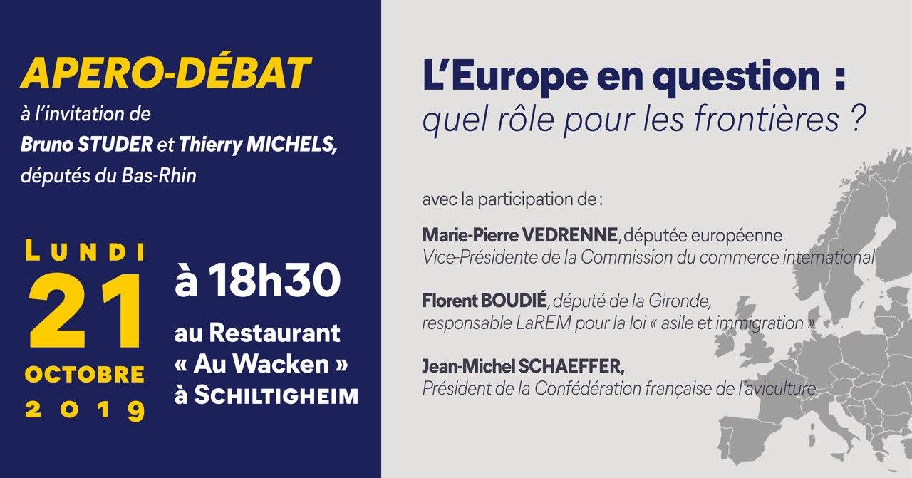 Apéro-Débat - L'Europe en question : quel rôle pour les frontières? Lundi 21 octobre 2019 à 18h30 au restaurant «Au Wacken à Schiltigheim
